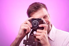 Photographer takes pictures Royalty Free Stock Photos