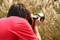 Photographer taking photo in country side Stock Photography