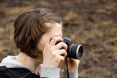 Photographer, taking photograp Royalty Free Stock Photos
