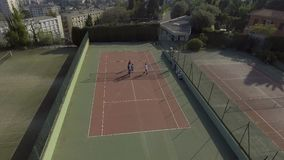 Photographer taking photos of tennis team on court, hobby and sport, vacation stock video footage
