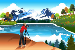 Photographer taking picture of a beautiful nature. A vector illustration of photographer taking picture of a beautiful nature vector illustration