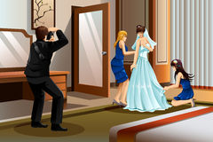 Photographer Taking Picture of a Bride. A vector illustration of a photographer taking picture of a bride wearing her wedding gown Royalty Free Stock Images