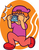 Photographer Taking Picture with Camera Cartoon Illustration Royalty Free Stock Images