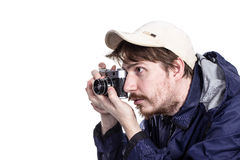 Photographer taking pictures with a  camera Royalty Free Stock Photo