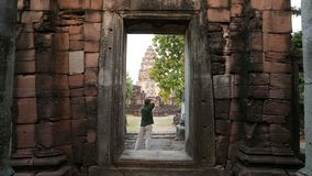 Photographer taking pictures in the scenic Phimai stock video footage