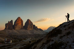 Photographer taking pictures to National Park Tre Cime di Lavare Stock Image