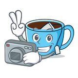 Photographer tea cup mascot cartoon. Vector illustration Royalty Free Stock Photos