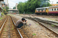 Photographer and Thai train Royalty Free Stock Photo