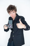 Photographer with thumb up Royalty Free Stock Photography