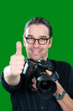 Photographer with thumb up Royalty Free Stock Image