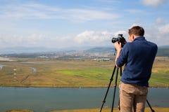 Photographer to shoot Nakhodka city Royalty Free Stock Image
