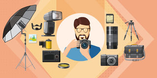 Photographer tool banner horizontal, cartoon style Stock Photo