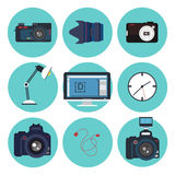 Photographer Tools Creative Kit. Icons Set Stock Photography