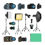 Photographer Tools Set Vector. Photography Objects. Photo Equipment Design Elements, Accessories. Modern Digital Cameras Stock Photo