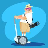Photographer tourist rides a Segway. Retired old photographer tourist rides a Segway. The way travel vector illustration