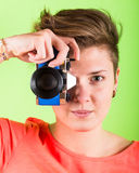 Photographer with Toy Camera Royalty Free Stock Photo