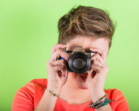 Photographer with Toy Camera Royalty Free Stock Photos