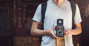 Photographer Traveler Capture Portrait Concept Stock Photos