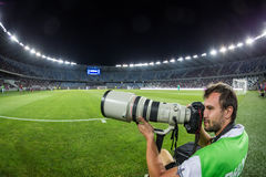 Photographer during the  UEFA Europa League game Royalty Free Stock Photos