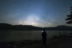 Photographer under the peaceful starry night sky background Royalty Free Stock Photography