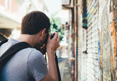 Photographer on urban street Royalty Free Stock Image