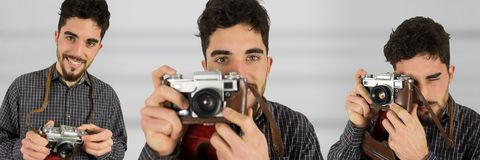 Photographer using the camera collage against blurred background Royalty Free Stock Photo