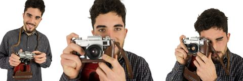 Photographer using the camera collage Stock Image