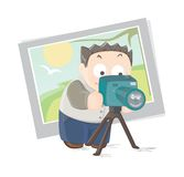 Photographer. Vector illustration of a young photographer with camera Royalty Free Stock Image