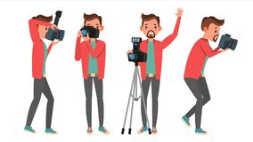 Photographer Vector. Modern Camera. Posing. Full Length Taking Photos. Photojournalist Design. Flat Cartoon Illustration Royalty Free Stock Images