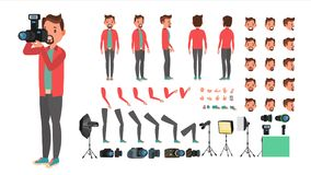 Photographer Vector. Taking Pictures. Animated Man Character Creation  Stock Image