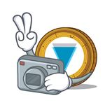 Photographer Verge coin mascot cartoon. Vector illustration Royalty Free Stock Images