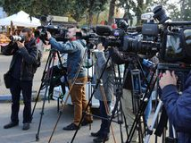 Photographer and video cameras at press conference. Outdoor at Indagra Fair 2017 ROMEXPO, Bucharest, Romania Stock Photography