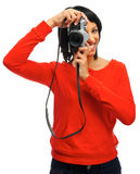 Photographer with vintage camera Royalty Free Stock Photos