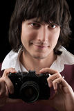 Photographer with the vintage camera. Isolated Stock Images