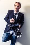 Photographer with vintage camera Royalty Free Stock Images
