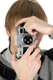 Photographer with a vintage film camera Royalty Free Stock Photography