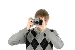 Photographer with a vintage film camera Royalty Free Stock Photos