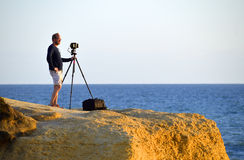 Photographer waiting for the right moment for the perfect picture Royalty Free Stock Photography