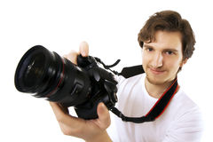 Photographer on a white background Stock Images