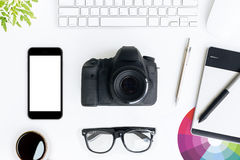 Photographer white desk on top Stock Image