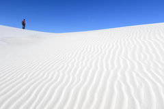 Photographer on White Sand Dunes Stock Image
