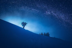 Photographer who take a picture of starry sky Stock Images