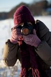 Photographer in winter Stock Photo