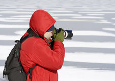 Photographer in winter Stock Images