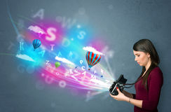 Photographer With Camera And Abstract Imaginary Royalty Free Stock Photo