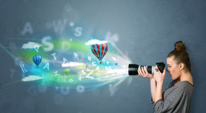 Photographer With Camera And Abstract Imaginary Royalty Free Stock Photos