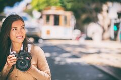 Free Photographer Woman Asian Girl Taking Photos With Slr Camera Professional Photography Looking At San Francisco Cable Car Stock Images - 190497764