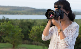 Photographer woman Royalty Free Stock Images