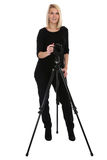 Photographer woman photography photos with camera occupation hob Stock Photography