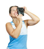 Photographer woman with retro camera Stock Images